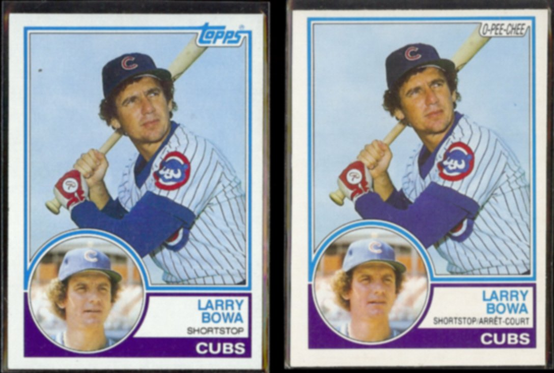 LARRY BOWA 1983 Topps #305 + 1983 O-Pee-Chee #305.  CUBS