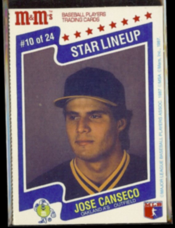 JOSE CANSECO 1987 MLBPA Mars M&M's Star Lineup #10 of 24.  A's