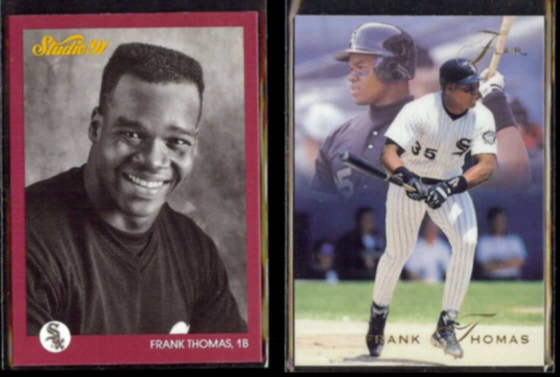 FRANK THOMAS 1991 Studio #40 + 1993 Flair #189.  WHITE SOX