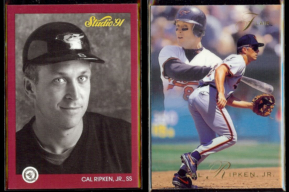 CAL RIPKEN Jr. 1991 Studio #9 + 1993 Flair #157.  ORIOLES