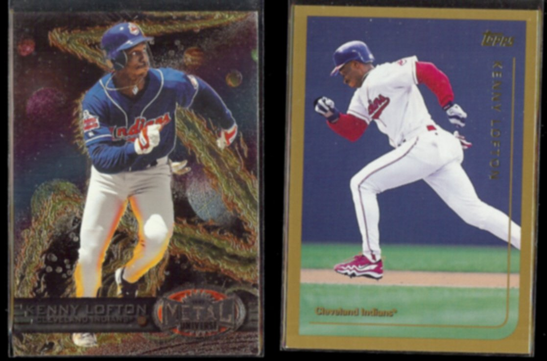 KENNY LOFTON 1997 Skybox Metal #82 + 1999 Topps #68.  INDIANS