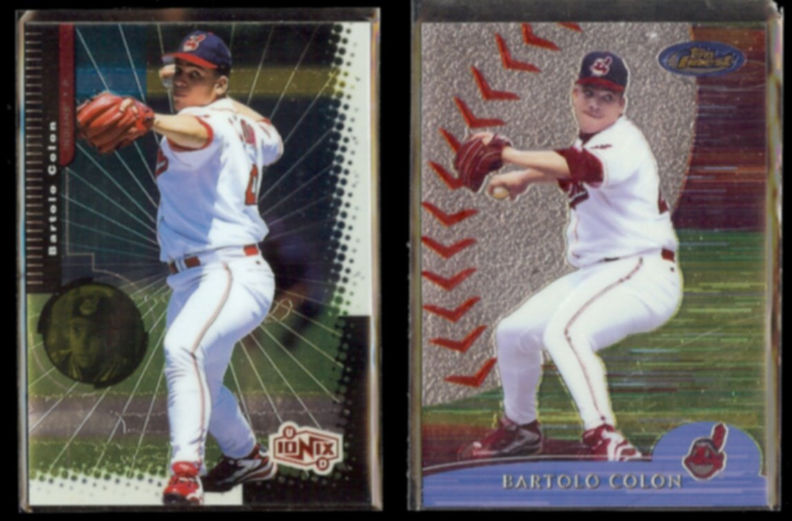BARTOLO COLON 1999 UD IONIX #23 + 2000 Topps Finest #47.  INDIANS