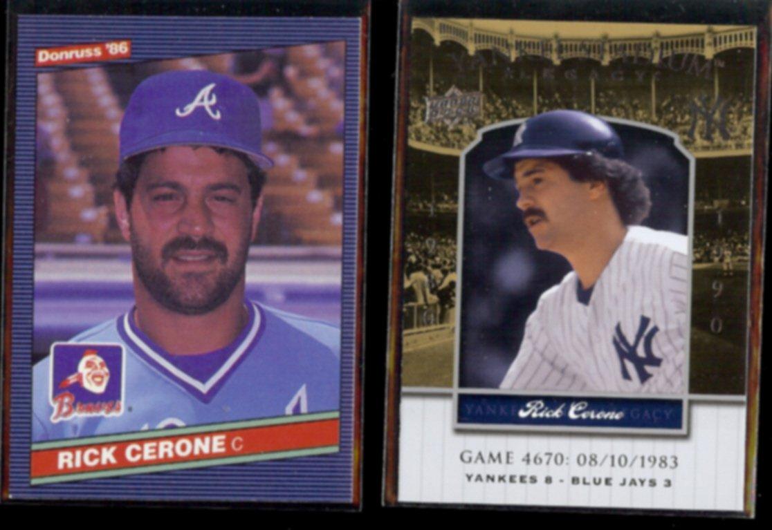 RICK CERONE 1986 Donruss + 2008 UD Yankee Stadium Legacy.  BRAVES / NYY