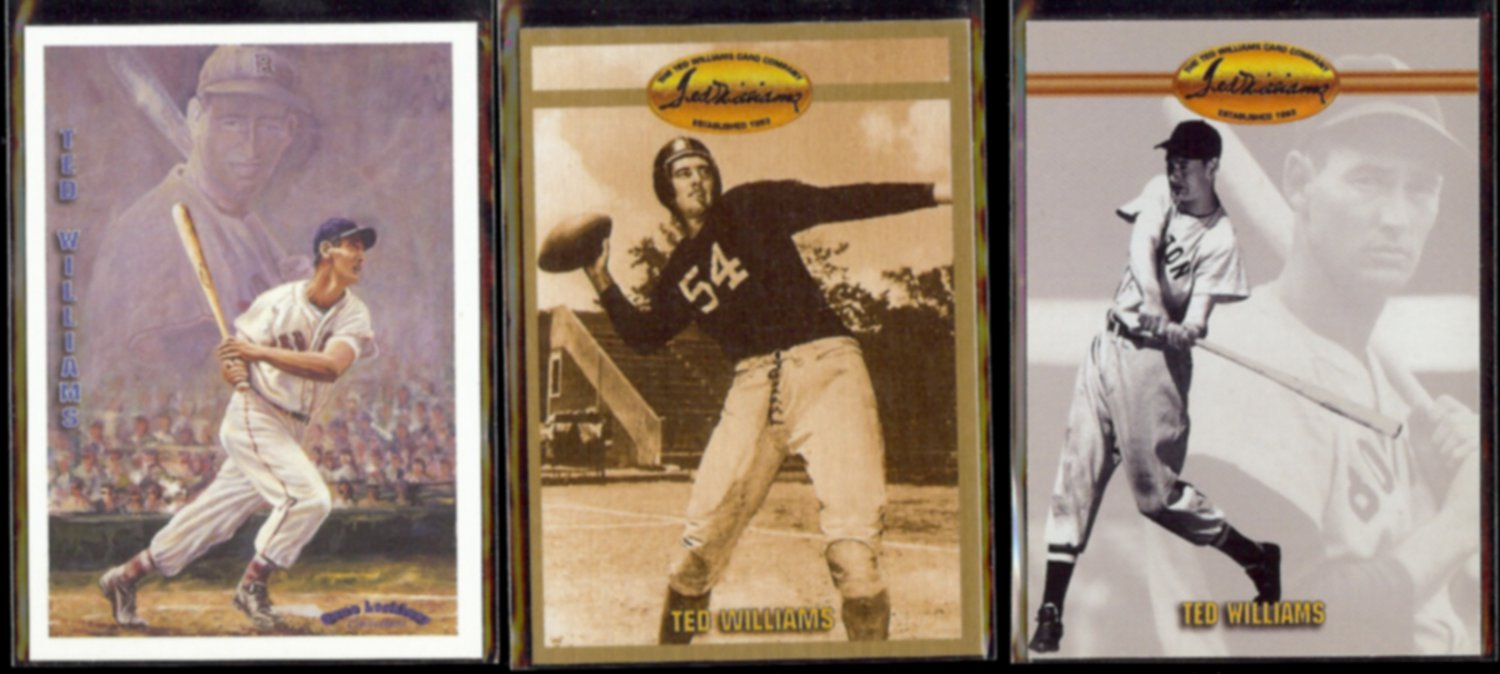 TED WILLIAMS (3) Card (1993 + 1994) Ted WIlliams Co. Lot w/ Football Pic