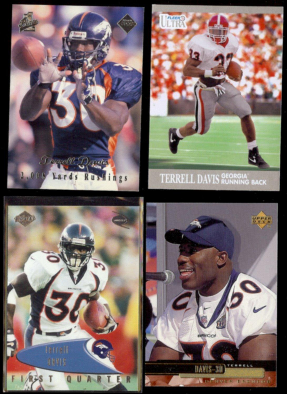 TERRELL DAVIS (4) Card Lot (1998, 1999 + 2013).  BRONCOS / BULLDOGS