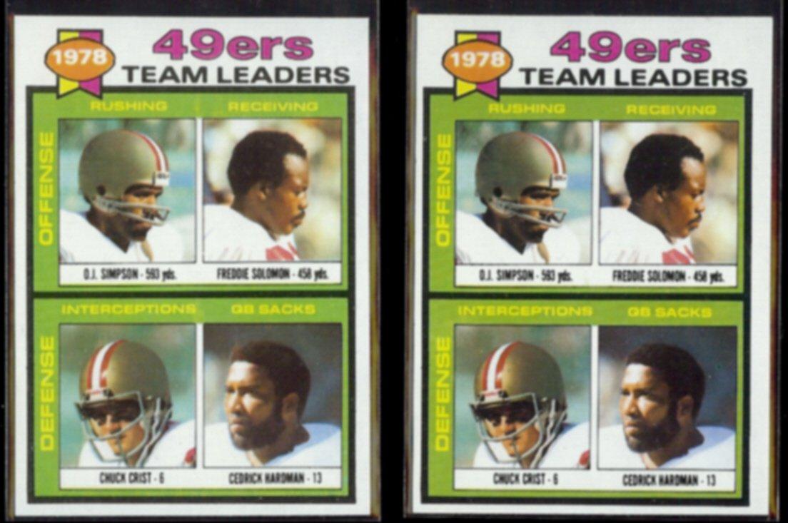 OJ SIMPSON (2) 1979 Topps 49ers Leaders #38 w/ Solomon, Hardman+