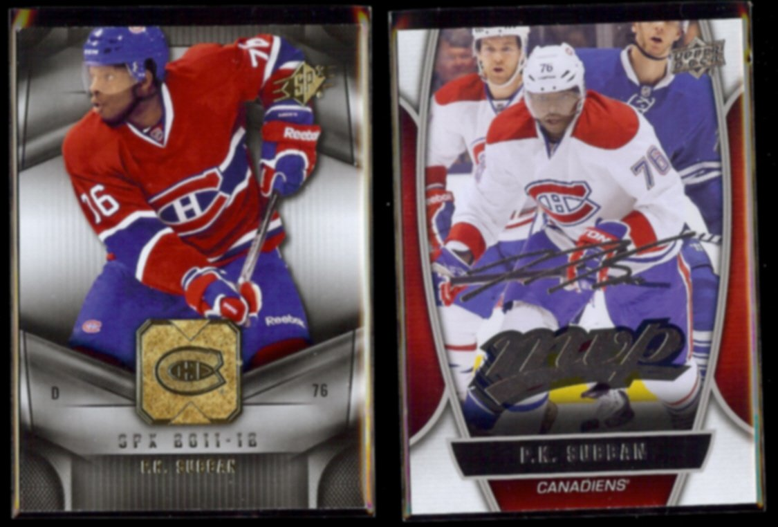 P.K. SUBBAN 2011 UD SPX #49 + 2013 UD Silver SIgnature #23.  CANADIENS