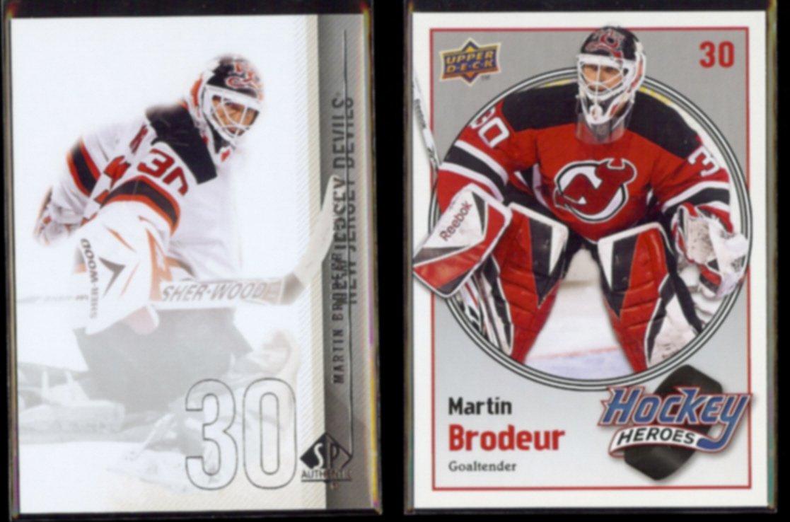 MARTIN BRODEUR 2010 UD SP Authentic #35 + 2009 UD Heroes Insert #HH11.  DEVILS