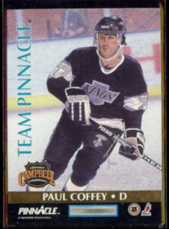 PAUL COFFEY 1992 Team Pinnacle Insert #3 of 6 w/ Leetch.  KINGS