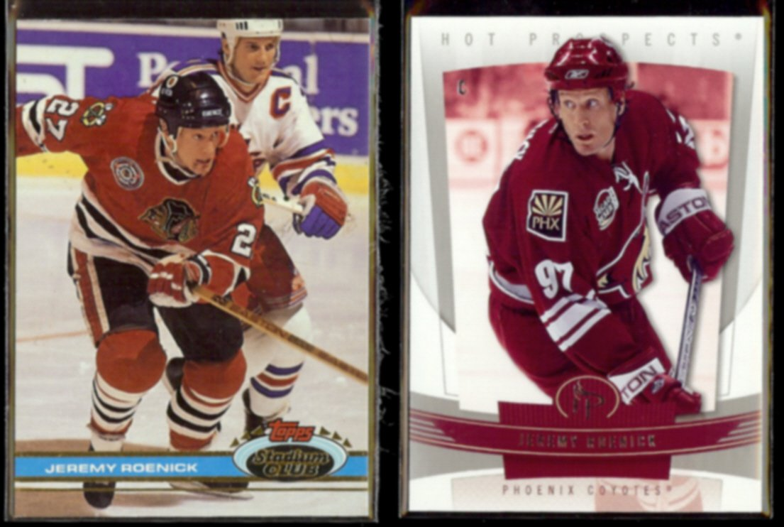 JEREMY ROENICK 1991 Stadium Club #46 + 2006 Fleer #75.  RED WINGS / COYOTES