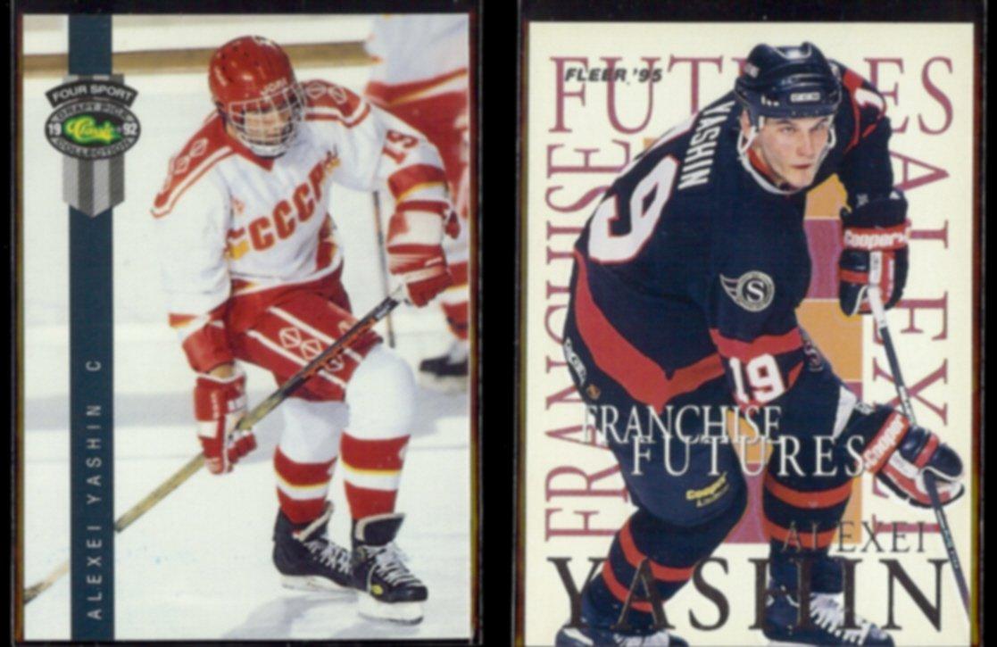 ALEXEI YASHIN 1992 4 Sport #152 + 1995 Fleer Franchise Futures Insert #9 of 10.