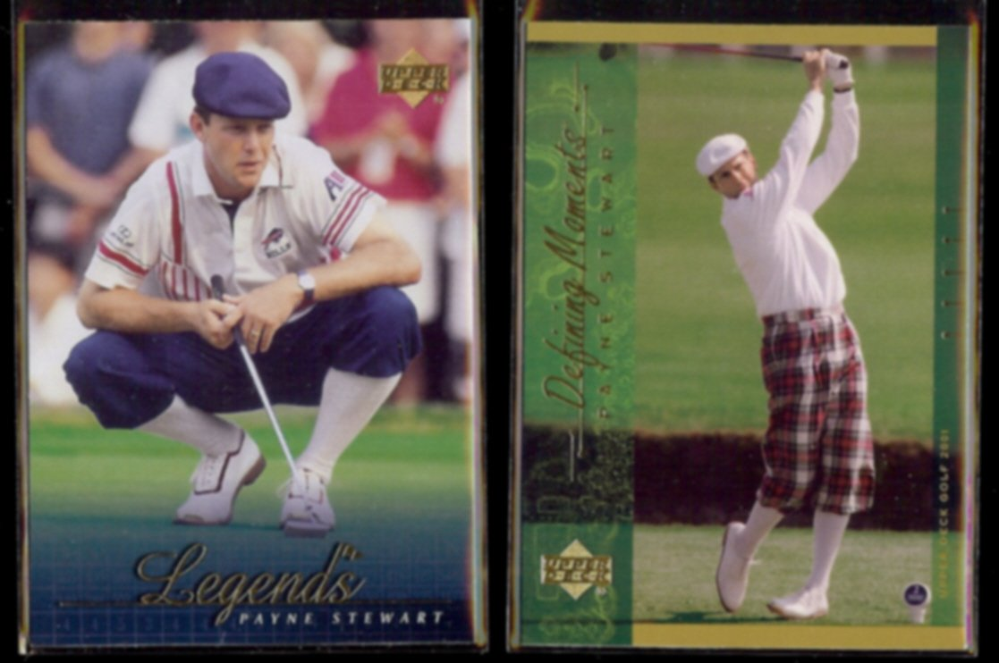 PAYNE STEWART 2001 UD Legends #64 + UD Defining Moments #139.  PGA