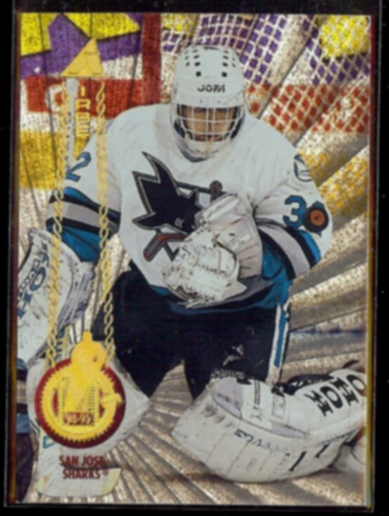 ARTURS IRBE 1994 Pinnacle Rink Collection Insert #121.  SHARKS
