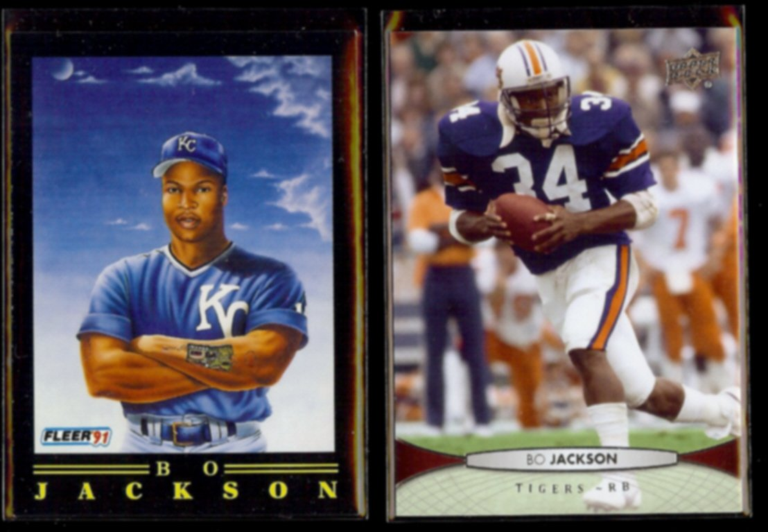 BO JACKSON 1991 Fleer Pro Vision #5 of 12 + 2012 Upper Deck #10.  ROYALS / AUBURN