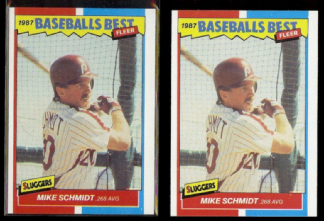 MIKE SCHMIDT (2) 1987 Fleer Best Odds #37 of 44.  PHILLIES - Straight from Sets