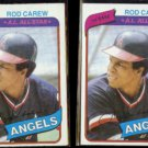 ROD CAREW (2) 1980 Topps #700.  ANGELS