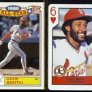 OZZIE SMITH 1989 Topps AS + 1990 US Playing Card Co. 6-Hearts.  CARDS