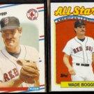 WADE BOGGS 1988 Fleer #345  + 1989 Topps AS #399.  RED SOX