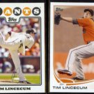 TIM LINCECUM 2010 Topps Cards Mom Threw Out Insert + 2013 Topps.  GIANTS