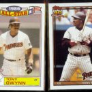 TONY GWYNN 1987 Topps All Star Glossy #6 of 22 + 1991 Topps #180.  PADRES