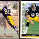 KEVIN GREENE 1992 Power #91 + 1993 Upper Deck #518.  RAMS / STEELERS