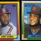 SANDY ALOMAR 1990 Topps Traded #2T + 1990 Topps #353.  INDIANS / PADRES