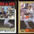 BRETT BUTLER 1986 Topps #149 + 1987 Topps #723.  INDIANS