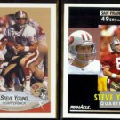 STEVE YOUNG 1990 Fleer #17 + 1991 Pinnacle #201.  49ers