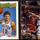 LUC LONGLEY 1991 Hoops Draft #552 + 1992 Stadium Club #103.  TWOLVES