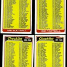 1981 CHECKLIST Lot (4) Cards (1 - 528) Nice shape - Unchecked