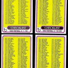 1980 CHECKLIST Lot (4) Cards (1 - 528) Nice shape - Unchecked