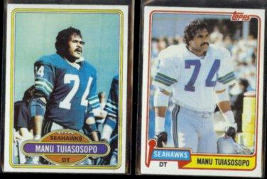 MANU TUIASOSOPO 1980 Topps #512 + 1981 Topps #320.  SEAHAWKS
