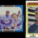 FRED McGRIFF 1987 Leaf #39 + 1992 Price Guide Glossy #42.  BLUE JAYS / PADRES