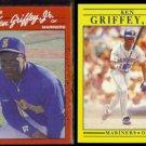 KEN GRIFFEY Jr. 1990 Donruss #365 + 1991 Fleer #450.  MARINERS