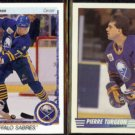 PIERRE TURGEON 1990 Upper Deck #43 + 1990 Topps Glossy Leader #20.  SABRES
