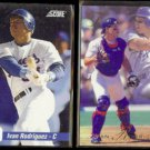 IVAN RODRIGUEZ 1992 Score Impact Player #5 + 1993 Flair #285.  RANGERS