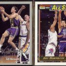 JEFF HORNACEK 1994 UD CC Silver Signature + 1992 Topps GOLD AS Inserts.  JAZZ