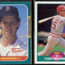 TODD BENZINGER 1987 Donruss Rookies + 1989 Score Traded.  RED SOX / REDS