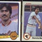 DENNIS MARTINEZ 1983 Donruss #231 + 1983 Fleer #64.  ORIOLES