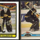 KIRK McLEAN 1990 Topps #257 + 1991 Stadium Club #105.  CANUCKS