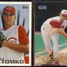 BRETT TOMKO 1996 Topps Draft #26 + 1998 Fleer Tradition #247.  REDS