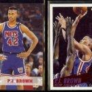 P.J. BROWN 1993 Hoops Rookie #369 + 1994 Fleer #141.  NETS
