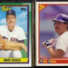 WADE BOGGS 1990 Topps #760 + 1990 Score #704.  RED SOX