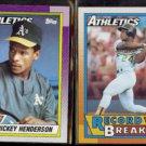 RICKEY HENDERSON 1990 Topps #450 + #7.  A's