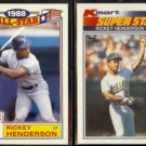 RICKEY HENDERSON 1989 Topps AS Glossy + 1990 Topps KMart.  YANKEES / A's