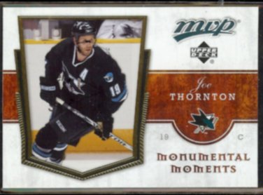 JOE THORNTON 2007 UD MVP Monumental Moments Insert #MM8.  SHARKS