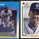 CHET LEMON 1987 Fleer #156 + 1991 Upper Deck #389.  TIGERS