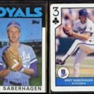 BRET SABERHAGEN 1986 Topps #487 + 1990 U.S. Playing Card CO. 3-Clubs.  ROYALS