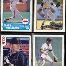 MATT WILLIAMS (4) Card Lot (1989 + 1990).  GIANTS