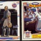 GARY CARTER 1988 Fleer #130 + 1989 Topps AS Glossy #20 of 22.  METS